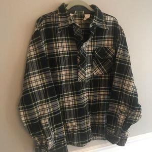 L L bean Mens thick flannel pullover jacket Xl